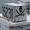 Skull symbol on fishing boat at harbor, Dingwall, Cape Breton Island, Nova Scotia, Canada