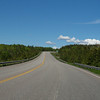 Empty road amidst trees in forest, Frankville, Cape Breton Island, Nova Scotia, Canada
