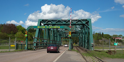 Cars moving on bridge, Port Hastings, Cape Breton Island, Nova Scotia, Canada