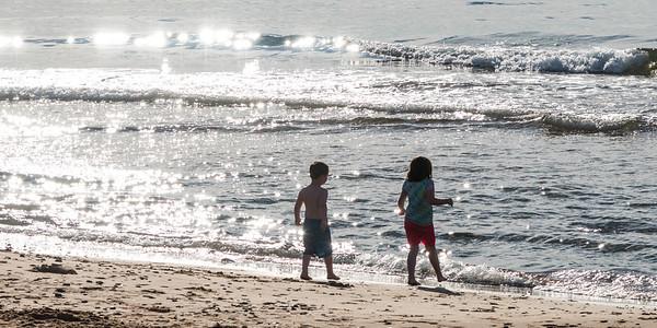Children playing on beach, Inverness Beach, Mabou, Cape Breton Island, Nova Scotia, Canada