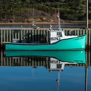 Fishing boat moored at harbor, Mabou, Cape Breton Island, Nova Scotia, Canada