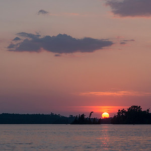 Sunset over a lake, Lake of The Woods, Ontario, Canada