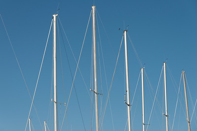 Low angle view of sailboat masts, Riverton, Hecla Grindstone Provincial Park, Manitoba, Canada