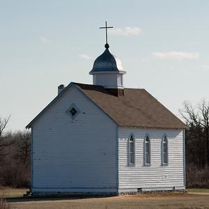 Church in a field, Manitoba, Canada