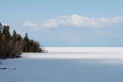 Frozen lake in winter, Lake Winnipeg, Riverton, Hecla Grindstone Provincial Park, Manitoba, Canada