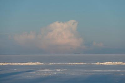 Frozen lake in winter, Lake Winnipeg, Hecla Grindstone Provincial Park, Manitoba, Canada