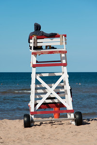 Lifeguard stand on Cavendish Beach, Green Gables, Prince Edward Island, Canada