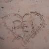 Heart shape drawn on the beach, Victoria Provincial Park, Prince Edward Island, Canada