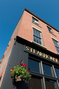 Low angle view of a steakhouse sign, Queens Square, Charlottetown, Prince Edward Island, Canada