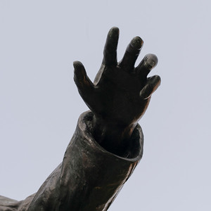 Hand of statue in Queens Square, Charlottetown, Prince Edward Island, Canada