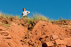 Woman standing on top of cliff, Green Gables, Cavendish, Prince Edward Island, Canada