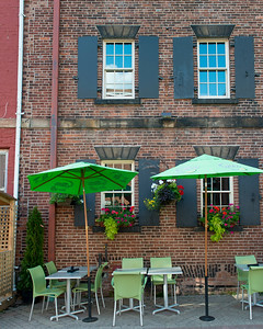 Sidewalk cafe in front of a building, Charlottetown, Prince Edward Island, Canada