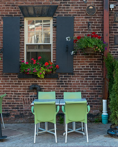Sidewalk cafe in front of a building, Queens Square, Charlottetown, Prince Edward Island, Canada