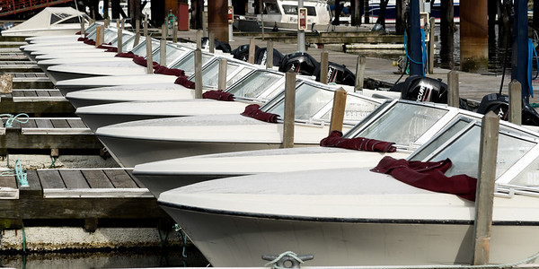 Motorboats at dock, Horseshoe Bay, West Vancouver, British Columbia, Canada