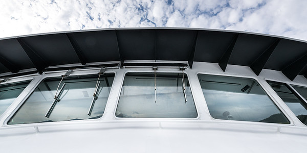 Low angle view of the windshield on a ferry, Bowen Island, British Columbia, Canada