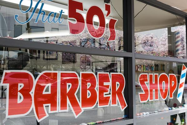 Barber shop sign, Vancouver Island, British Columbia, Canada