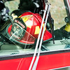 Close-up of fireman's helmet in firetruck, Horseshoe Bay, West Vancouver, British Columbia, Canada