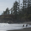 Tourist running on beach, Pacific Rim National Park Reserve, Tofino, Vancouver Island, British Columbia, Canada