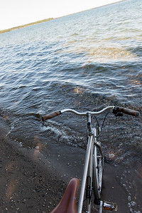 Bicycle on the beach, Wasagaming, Riding Mountain National Park, Manitoba, Canada