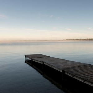 Pier in a lake, Riding Mountain National Park, Manitoba, Canada