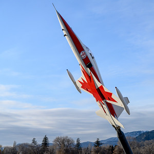 Sculpture of an jet airplane, Sun Peaks Resort, Sun Peaks, British Columbia, Canada
