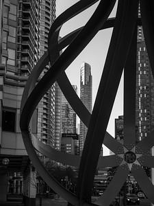 Close-up of sculpture Between the Eyes, Toronto, Ontario, Canada