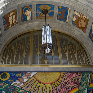 Low angle view of mural on the wall of building, Toronto, Ontario, Canada