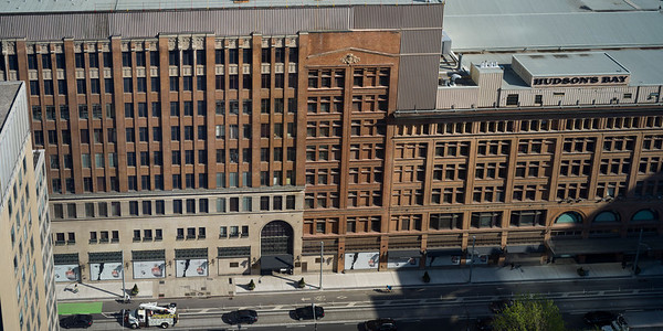 Elevated view of Hudson's Bay Company, Simpson Tower, Toronto, Ontario, Canada