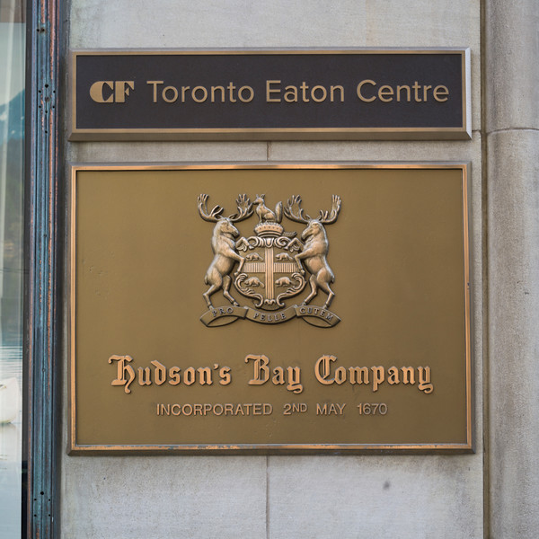 Close-up of sign of Hudson's Bay Company, Simpson Tower, Toronto, Ontario, Canada