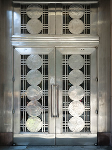 Closed art deco exterior door, Toronto, Ontario, Canada