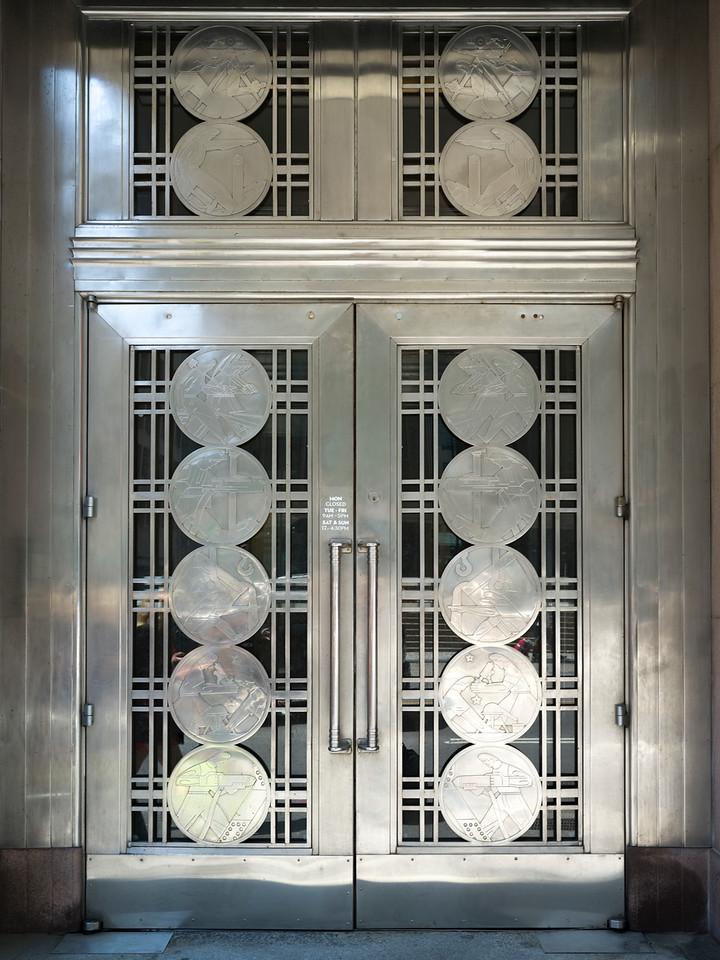 Closed art deco exterior door, Toronto, Ontario, Canada