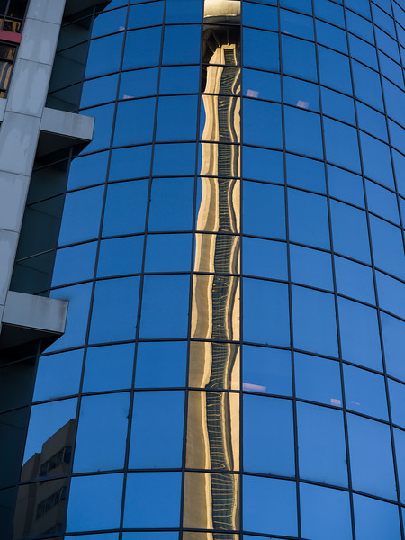 Reflection on skyscraper, Toronto, Ontario, Canada