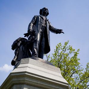 Low angle view of Sir John Macdonald statue at Queens Park, Toronto, Ontario, Canada