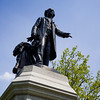 Low angle view of Sir John Macdonald statue at Queens Park, Toronto, Ontario, Canada