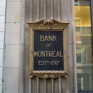 Plaque on Bank of Montreal building, Toronto, Ontario, Canada