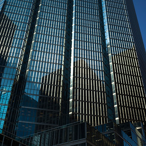 Low angle view of skyscrapers, Toronto, Ontario, Canada