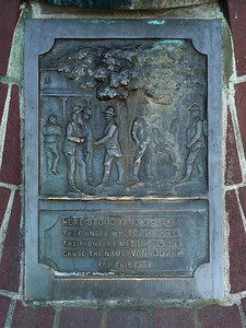 Close-up of memorial plaque, Gastown, Vancouver, Lower Mainland, British Columbia, Canada