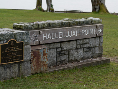 View of a monument, Hallelujah Point, Stanley Park, Vancouver, Lower Mainland, British Columbia, Canada