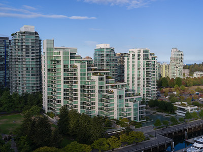 Elevated view of Buildings along Coal Harbor, Bayshore West Marina, Vancouver, Lower Mainland, British Columbia, Canada