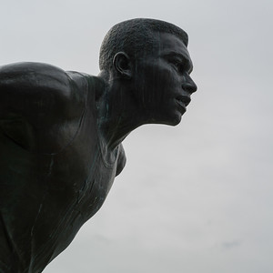 Statue of Canadian athlete Harry Winston Jerome at Hallelujah Point, Stanley Park, Vancouver, Lower Mainland, British Columbia, Canada