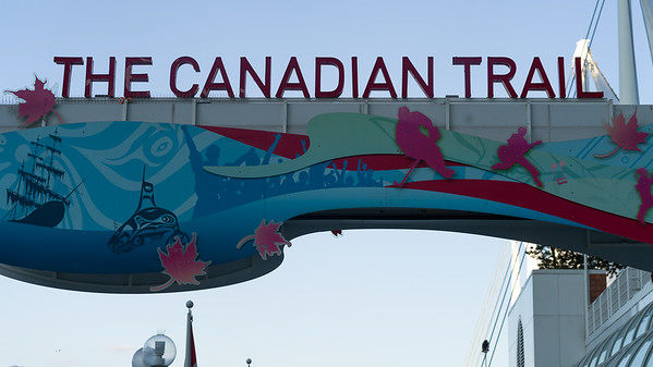 Low angle view of Canadian Trail sign, Vancouver, Lower Mainland, British Columbia, Canada