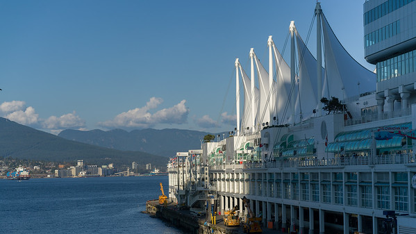 Canada Place along Burrard Inlet, Vancouver, Lower Mainland, British Columbia, Canada