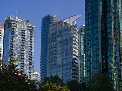 Low angle view of skyscrapers, Vancouver, Lower Mainland, British Columbia, Canada