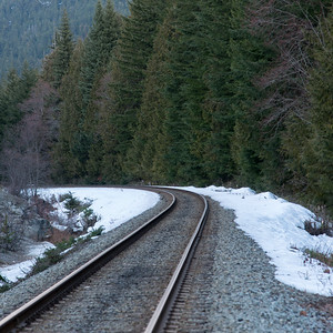 Railroad track passing through a forest, Whistler, British Columbia, Canada
