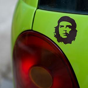 Close-up of painting of Che Guevara on a car, Havana, Cuba