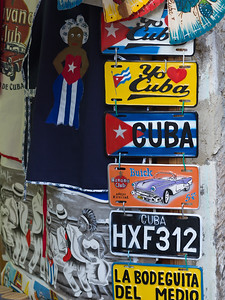 Close-up of number and name plates for sale, Havana, Cuba