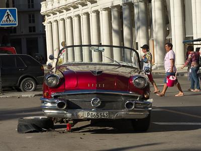 Broken down car on the road, Havana, Cuba