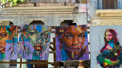 Close-up display of paintings, Havana, Cuba
