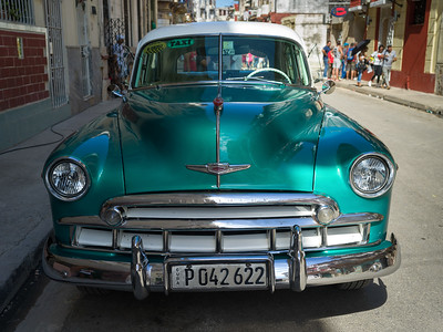 Close-up of a vintage car parked on the road, Havana, Cuba