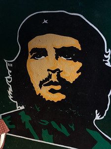 Close-up of painting of Che Guevara, Havana, Cuba